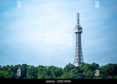 Prague Petrin Hill Tower and Park on Beautiful Sunny Spring Day - Stock Photo