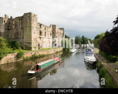 Newark Castle viewed across the River Trent towards the town centre - Stock Photo