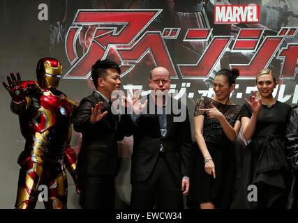 Tokyo, Japan. 23rd June, 2015. (L to R) Iron Man, Japanese comedian Hiroyuki Miyasako, film director Joss Whedon, - Stock Photo