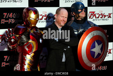 Tokyo, Japan. 23rd June, 2015. Director Joss Whedon (C) poses for photographers with Captain America (R) and Iron - Stock Photo
