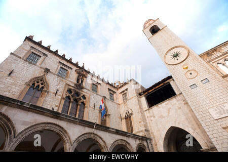 Cathedral in Walled city of Dubrovnic in Croatia - Stock Photo