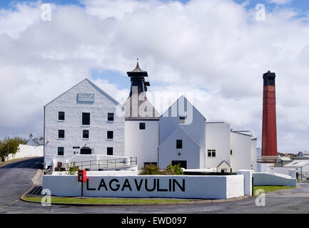 Whisky distillery at Lagavulin making Scottish single malt whiskey or Scotch in Port Ellen Isle of Islay Inner Hebrides - Stock Photo