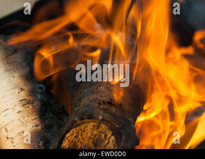 Burning fire wood and ember - Stock Photo