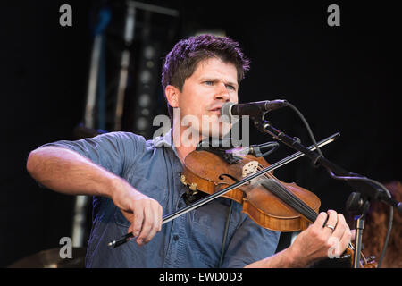 Folk singer and songwriter Seth Lakeman performing at Behind the Castle music festival, 2014 - Stock Photo