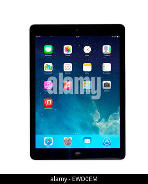 Home screen on an Apple iPad Air tablet computer - Stock Photo