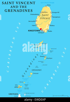 Grenada political map with capital St. Georges. Island Country, part ...