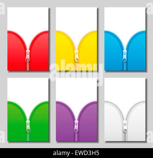 Zippers in six different colors. - Stock Photo