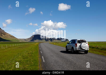 tourist hired 4x4 vehicle driving the ring road along the southern coast of iceland in the summer - Stock Photo
