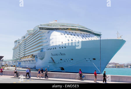 MS Allure of the Seas in Malaga port, Spain, 29th April, 2015. - Stock Photo