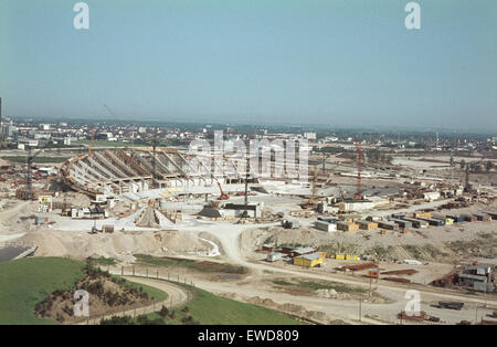 The Olympic Park of Munich under construction for the Olympic Games 1972. View from Olympiaberg. Blick vom Schuttberg - Stock Photo