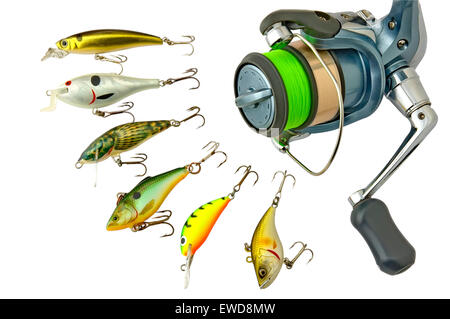 A fishing lure(wobblers) and reel, isolated on a white background. - Stock Photo