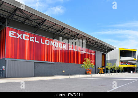 Eastern public entrance areas to the London Excel exhibition complex and The International Convention Centre East - Stock Photo