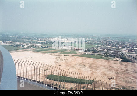 View from the Munich Olympiaturm to the Olympic Park, site of the Games, in 1968. Blick vom Fernsehturm auf den - Stock Photo