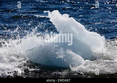 icebergs washing up on the black sand beach at Jokulsarlon Iceland - Stock Photo