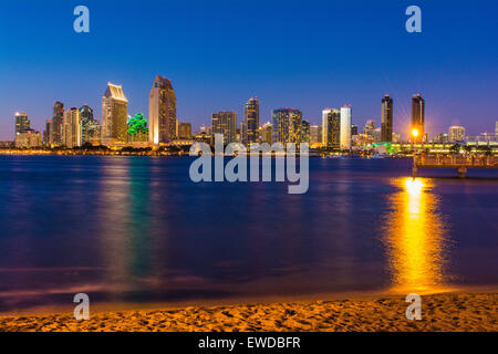 Downtown San Diego skyline from Coronado Island, California, USA - Stock Photo