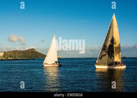 Sailboats off Waikiki, Diamond Head in the background, Honolulu, Oahu, Hawaii - Stock Photo