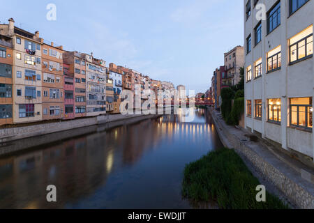 Old riverside buildings in the city of Girona, Catalonia, Spain - Stock Photo