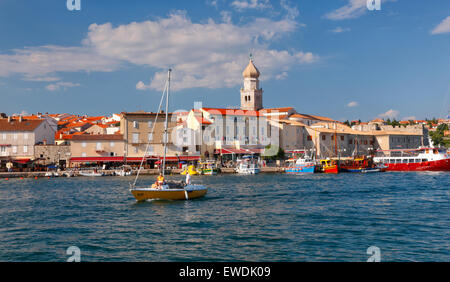 Krk old town waterfront. Island Krk in Croatia - Stock Photo