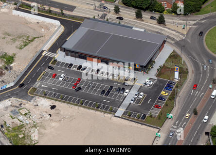 aerial view of an Aldi supermarket store, UK