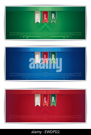 Three card template for creating vector background in the Belarusian style - Stock Photo