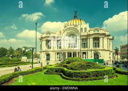 Retro style image of Palacio de Bellas Artes, Mexico city - Stock Photo