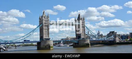 Panoramic view of The Tower Bridge spanning over River Thames as view from London borough of Tower Hamlets (north - Stock Photo