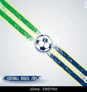 Sports template with grunge stripes on diagonal and soccer ball in center. Vector eps10 - Stock Photo
