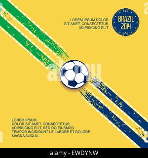 Sports grunge template with stripes on diagonal and soccer ball in center. Football in Brazil. Vector eps 10 - Stock Photo