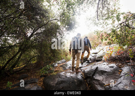 Two young men carrying backpacks hiking - Stock Photo