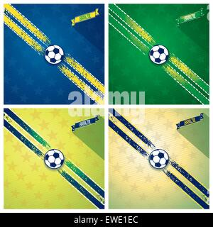 Set of decorative ribbons with strokes of paint on diagonal and soccer ball in center. Vector eps 10 - Stock Photo