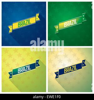 Set of decorative ribbons with inscription - Brazil on abstract star background. Vector eps 10 - Stock Photo