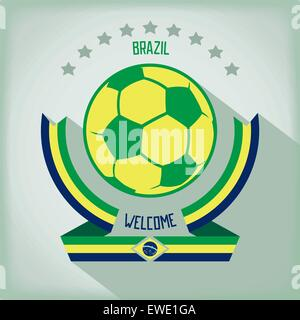 Design emblem for football In the colors of national flag Brazil. Flat vector eps 10 - Stock Photo