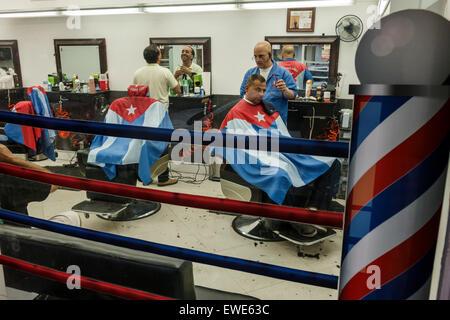 Miami Florida Little Havana Gamboa Barber Shop Cuban flag