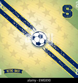 Retro background with two sport line on diagonal and soccer ball in center. Vector eps 10 - Stock Photo