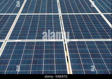 Solar farm in Cumbria. Panels cover over 80 acres of land to produce green energy on Pasture Farm near Aspatria. - Stock Photo