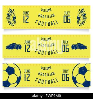 Design flyers tickets - welcome to Brazilian football. Vector eps 10 - Stock Photo