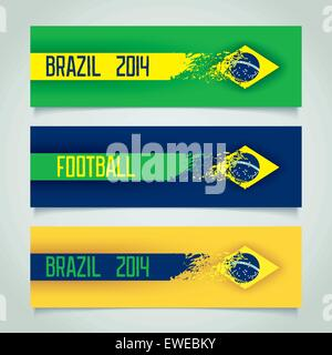 Set grunge banners with motion effect, Brazil and soccer. Vector eps 10 - Stock Photo