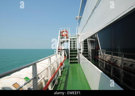 View of ocean from port side of ship - Stock Photo