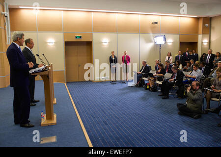 U.S. Secretary of State John Kerry addresses reporters as he and Russian Foreign Minister Sergey Lavrov held a news - Stock Photo