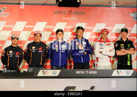 Assen, Netherlands. 24th June, 2015. Motul TT Assen. Dani Pedrosa, Marc Marquez, Jorge Lorenzo, Valentino Rossi, - Stock Photo