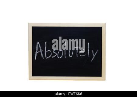 Absolutely written with white chalk on blackboard. - Stock Photo