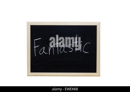 Fantastic written with white chalk on blackboard. - Stock Photo