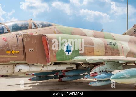 Hatzerim, Israel -  April 27, 2015: McDonnell Douglas F-4E Super Phantom aircraft at the museum of the Air Force - Stock Photo