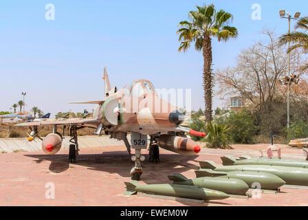 Hatzerim, Israel -  April 27, 2015: Israel Air Force Kfir C7 fighter jet on display in the Israeli Air Force Museum. - Stock Photo