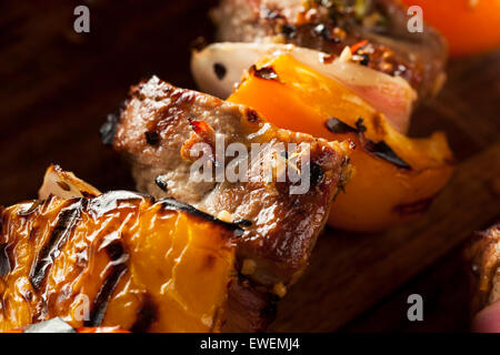 Homemade Grilled Steak and Veggie Shish Kebabs on a Skewer - Stock Photo
