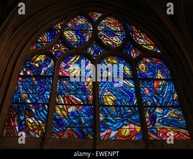 One of a series of stain glass windows in Saint-Severin designed  by Jean Rene Bazaine.  Each Jean Rene Bazaine - Stock Photo