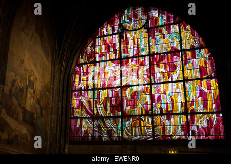 One of a series of stain glass windows in Saint-Severin designed  by Jean Rene Bazaine. - Stock Photo