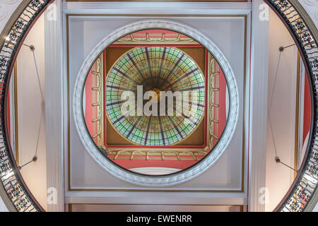 colourful stained-glass dome of the Queen Victoria Building. Sydney, New South Wales, Australia - Stock Photo