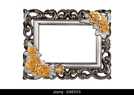 Silver carved picture frame with rose decor clipping path included. - Stock Photo