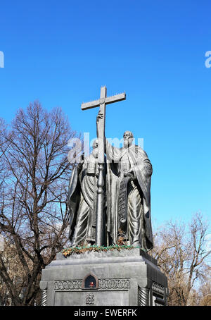 Cyril and Methodius are founders of slavic literature. The monument was erected in the center of Moscow - Stock Photo